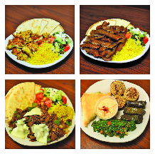 Assortment of Greek food plates at Maro's Gyros in Smyrna