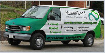 Master Duct Cleaning company vehicle near Elk Grove Village