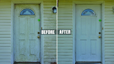 Before and after photo of door pressure washing
