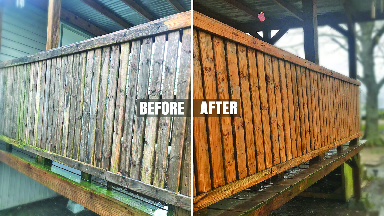 Deck restoration service before and after photo