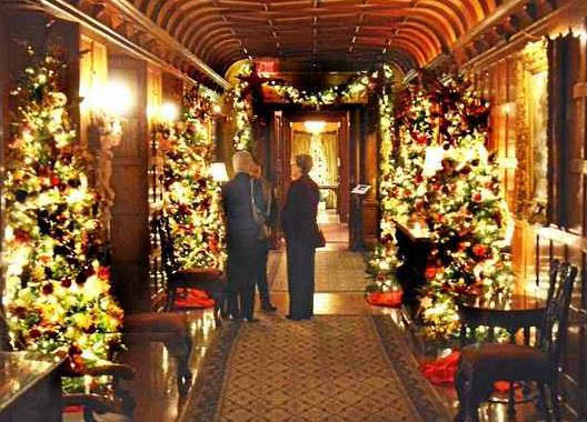 photo of holiday lights inside Meadow Brook Hall in Rochester, MI