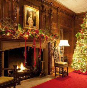 photo of mantle decorated for Christmas at Meadow Brook Hall in Rochester, MI