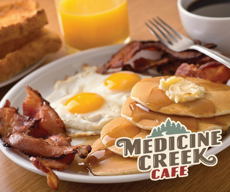 Quality breakfast dishes from Medicine Creek Cafe in Olympia, WA - bacon and eggs - pancakes - French toast - great coffee - Olympia dining coupons near me - Olympia restaurants