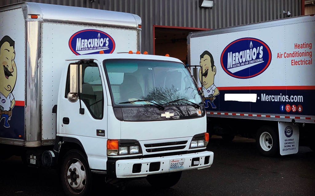 Mercurio's Heating & Air Conditioning trucks - cooling system repairs - cooling system maintenance - cooling system installation - HVAC companies near me - heating & air conditioning companies near me - heating & air conditioning coupons