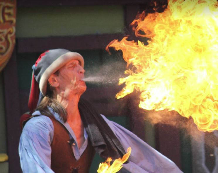 photo of fire breather performance at 2017 Michigan Renaissance Festival in Groveland Twp, MI