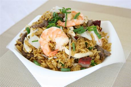 Delicious fried rice with shrimp