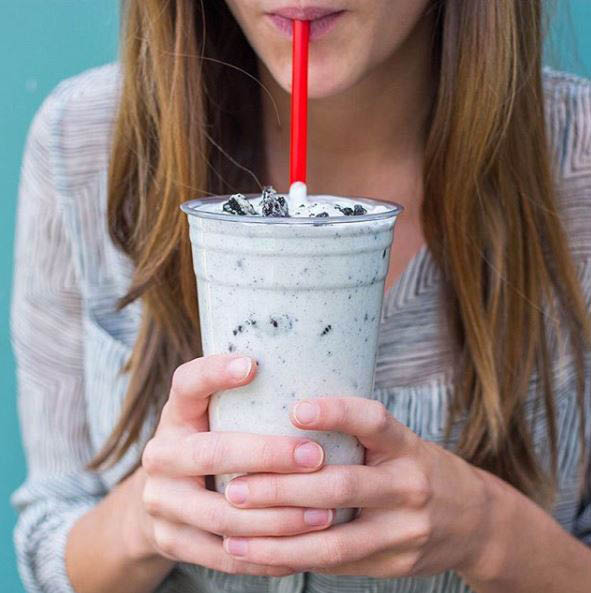 Order a delicious hand-dipped milkshake as a beverage or a dessert