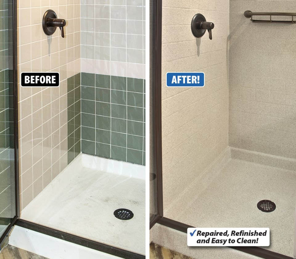 Before and after of shower tile repair and refinish