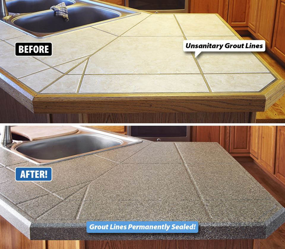 Kitchen countertop grout lines permanently closed