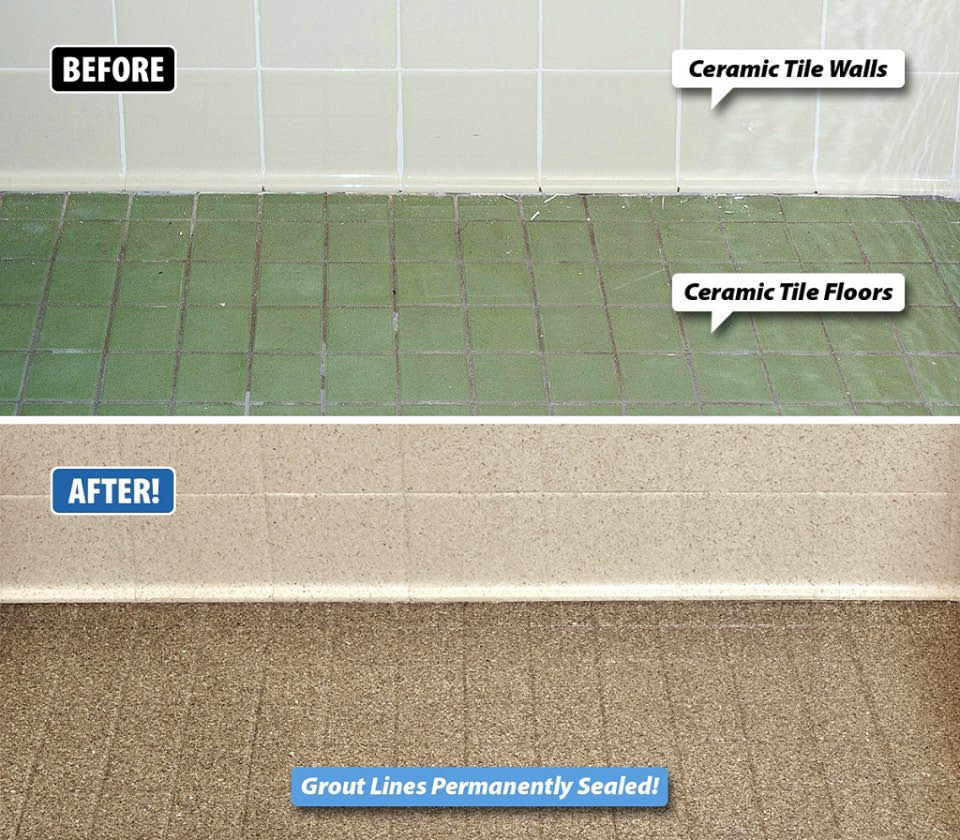 Refinish of ceramic tile floors and walls