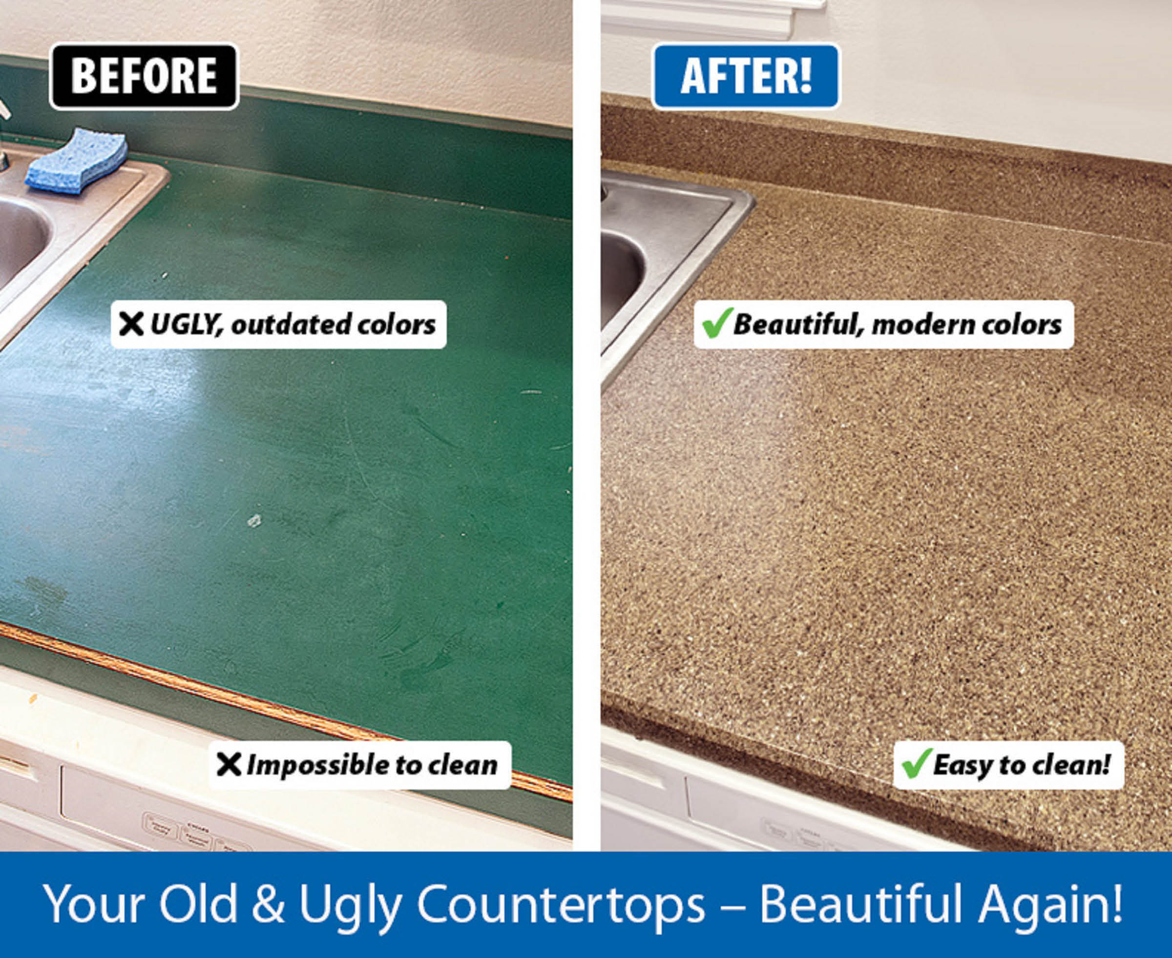 Outdated Kitchen Countertop Is Transformed With Kitchen Resurfacing