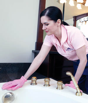 Molly Maid will clean your bathrooms professionally.