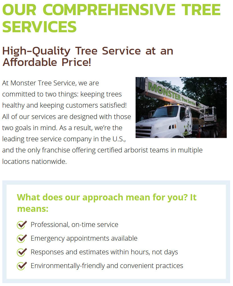 Monster Tree Service Affordable Professional Tree Service