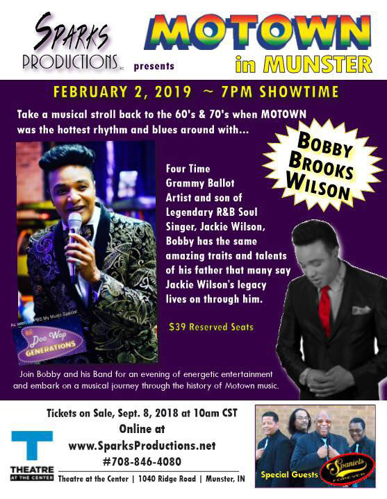 Motown In Munster featuring Bobby Brooks Wilson with special guests The Spaniels Forever. Munster IN