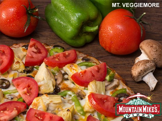 The Veggiemore pizza with fresh tomatoes and peppers