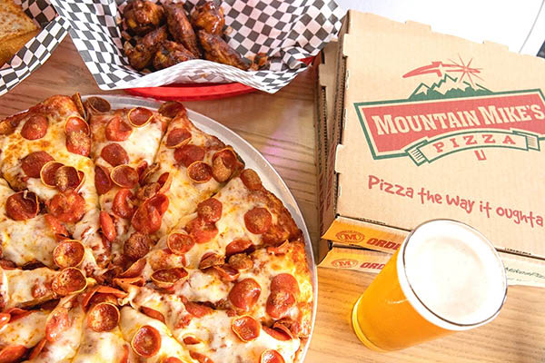 pizza, beer and wings from Mountain Mikes