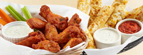 Pair Mountain Mike's hot wings with garlic sticks