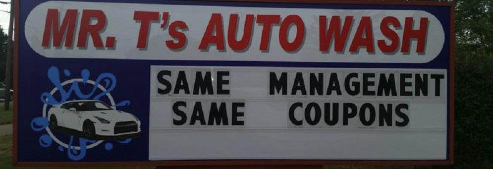 photo of sign in front of Mr. T's Auto Wash in Rochester Hills, MI