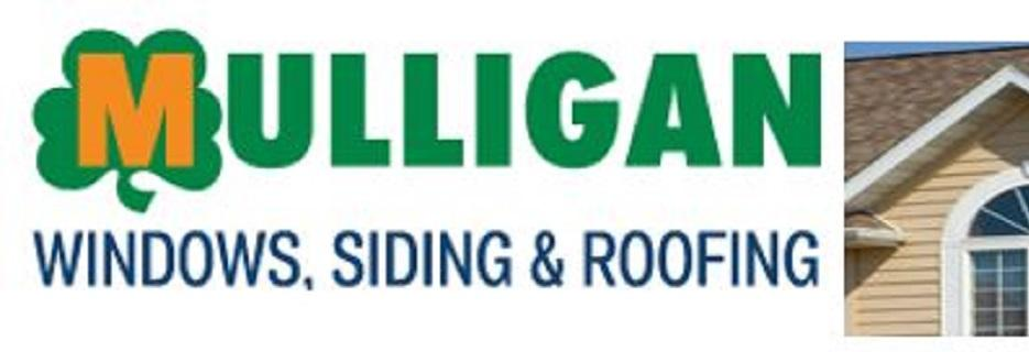 Mulligan Windows, Siding & Roofing logo with photo of roof, siding and window on house