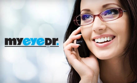 My Eye Dr. sells designer eyeglass frames and contact lenses