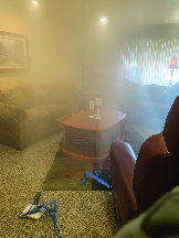 Dry fog in living room