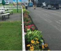 pavers, flowers, bushes