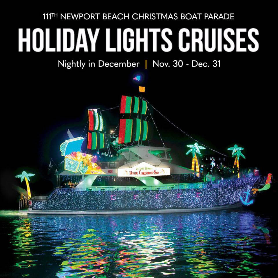 Newport Landing in Newport Beach Christmas Boat Parade with neon blue lights; holiday event tickets