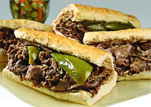 Overstuffed Italian beef sandwich