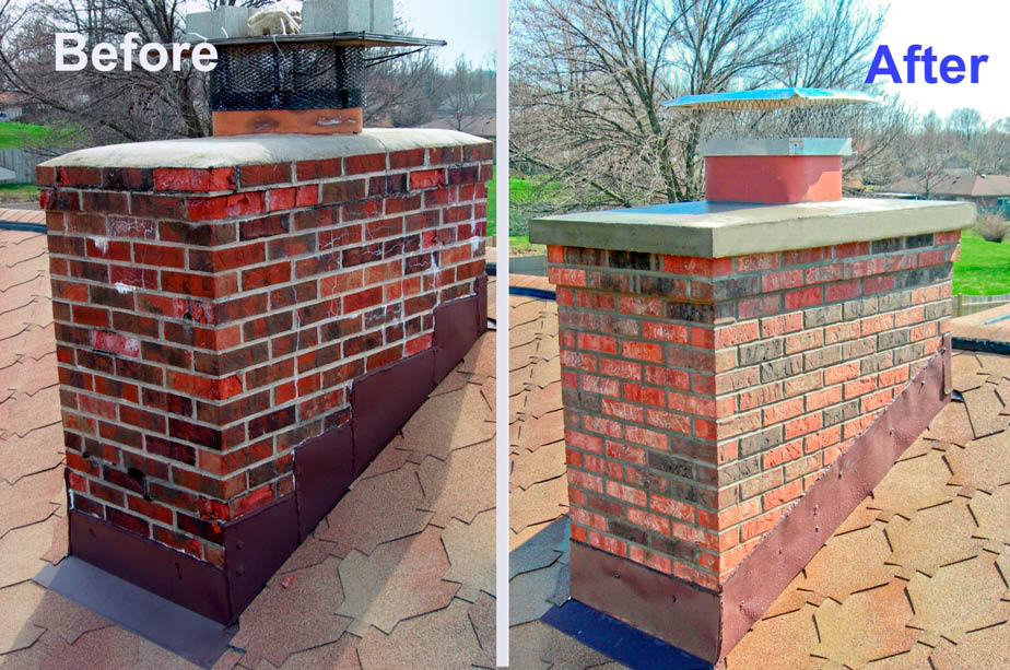 Repaired chimney before and after by National Chimney Cleaners and Repair, Inc serving Northern NJ