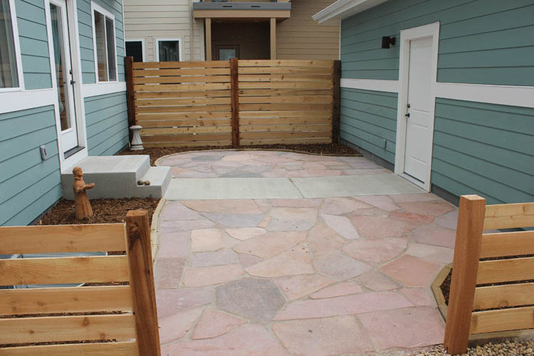 flagstone private patio with fence north fort collins