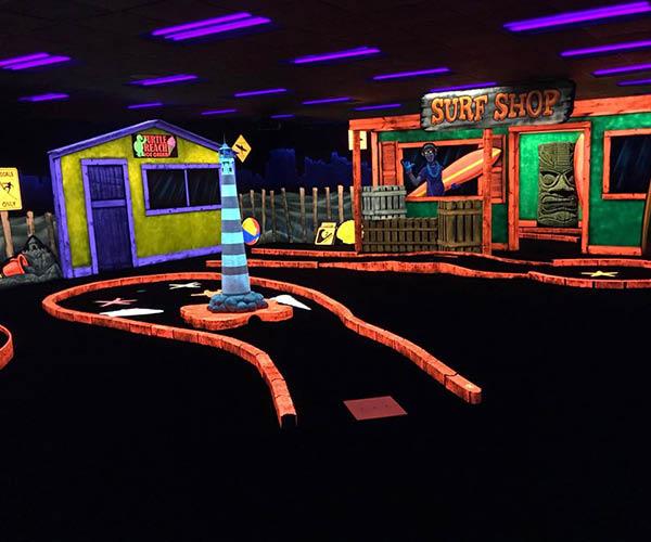 Blacklight indoor mini golf  at North Shore Oceanfront Hotel-Myrtle Beach