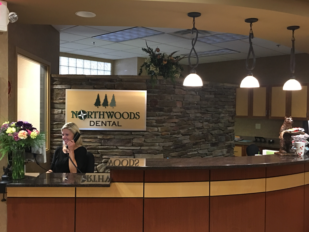 Reception desk at Northwoods Dental