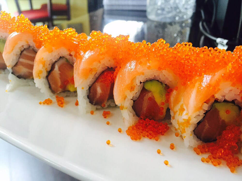 A generously portioned Double Salmon Roll near Pleasant Hill, CA