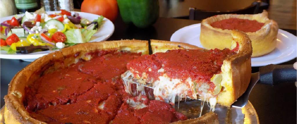 deep dish pizza and salad