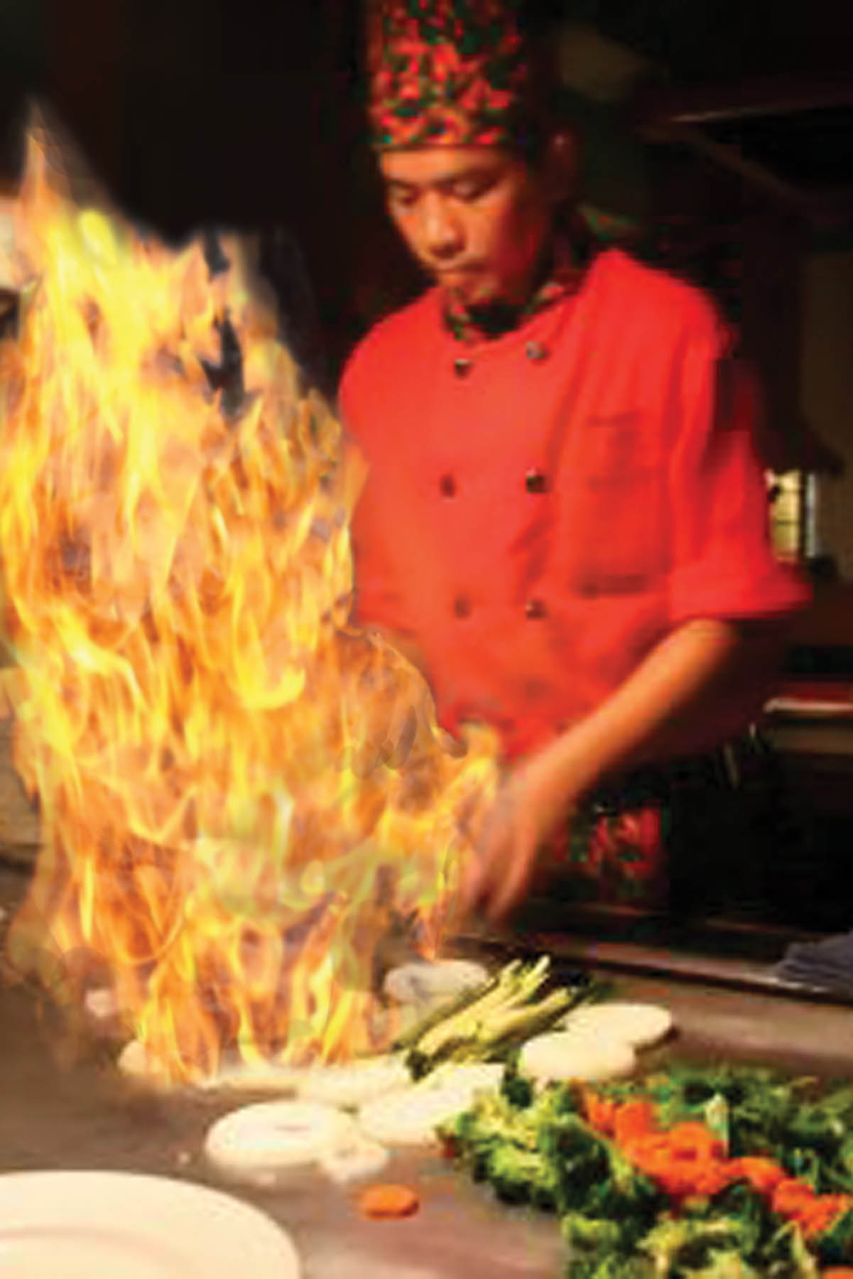 osaka grill and supreme buffet chef cooking with fire