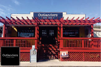 Outlanders restaurant exterior and logo