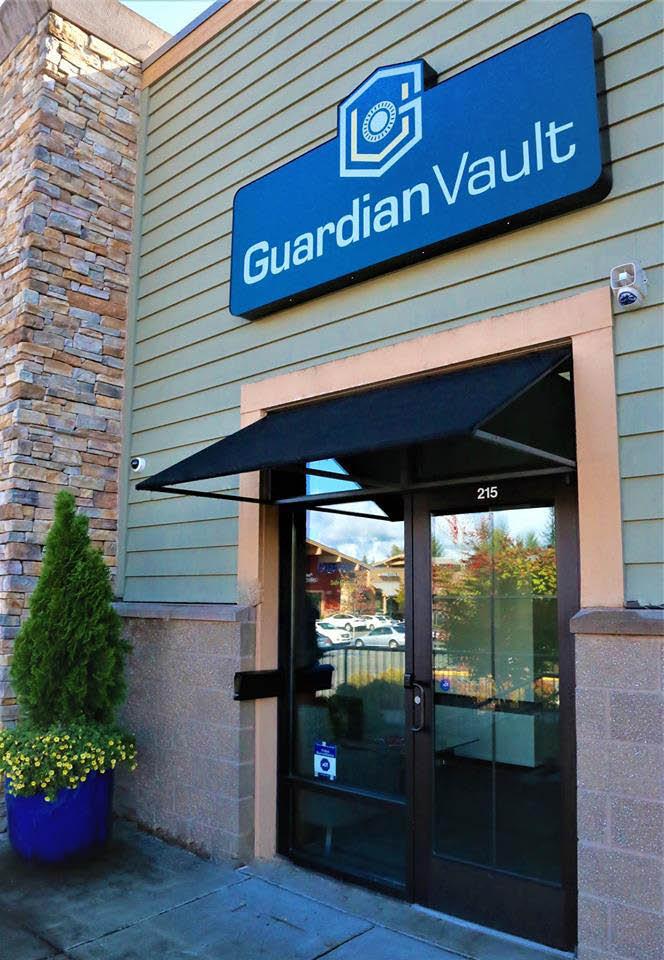 Outside Guardian Vault safe deposit box facility in Redmond, WA - secure safe deposit box rental - rent a safe deposit box near me - safe deposit box coupons near me
