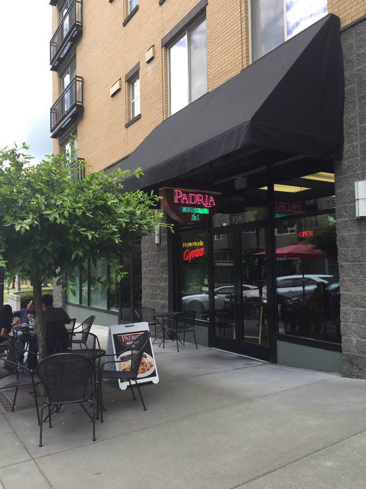 Outside Padria Mediterranean Cafe in Kirkland, Washington - Greek food - Greek restaurant