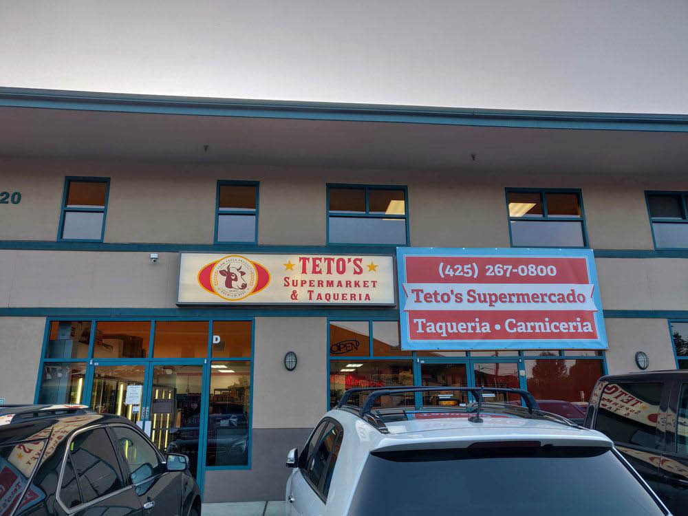 Exterior of Teto's Supermarket & Taqueria in Everett, WA - Mexican food near me - Mexican restaurants near me - Mexican food coupons near me