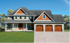 Large home with three automatic garage doors
