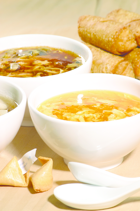 Chinese-Soup-&-Egg-Rolls