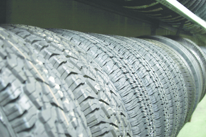 line of different tires; Big O Tires large selection of tires, tire ratings, tire sizes, tire alignments