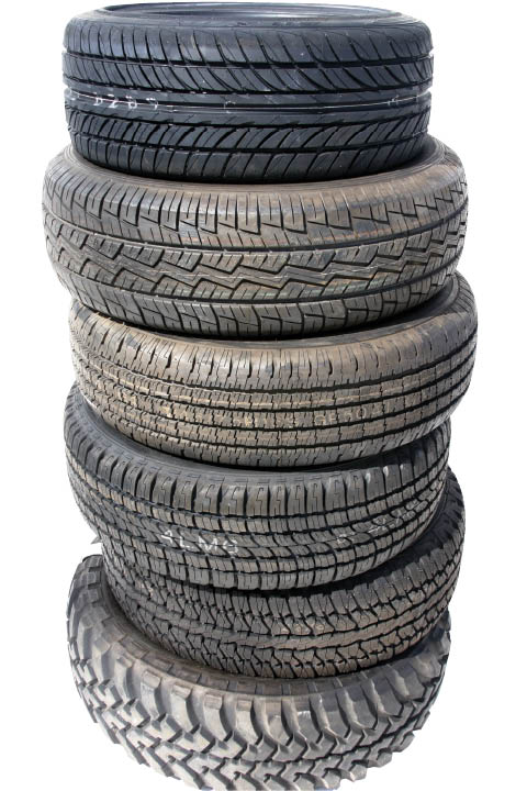 Stack of used tires.
