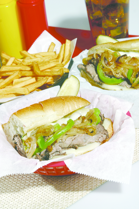 Hot steak sandwich with french fries