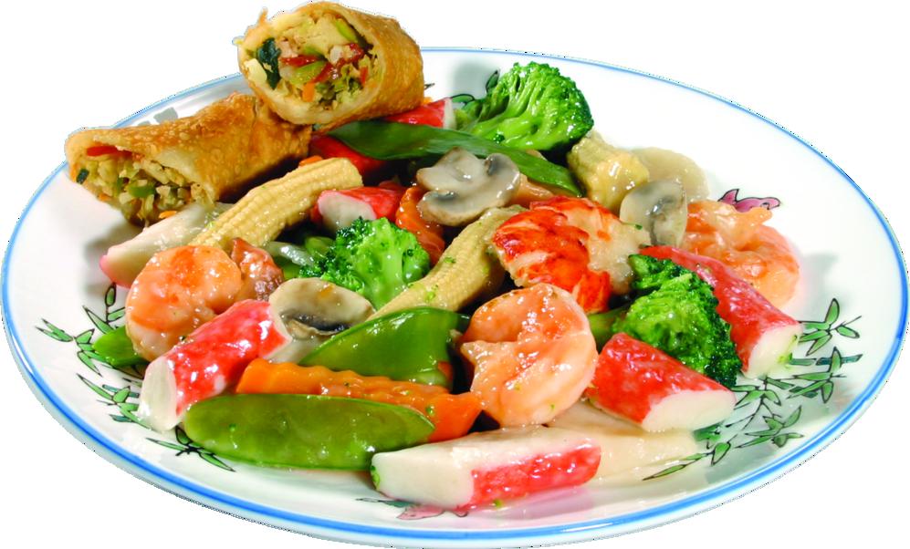 Shrimp, Crab, Snow Peas and Baby Corn