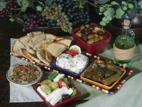 Sampler platter of Greek olives, grape leaves, pitas and more