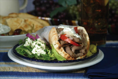 Our gyros are the best! Tangy, savory and deliciously fresh with tzaziki sauce, tomatoes, gyro meat and soft pita bread.