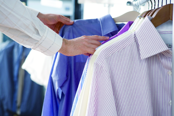 Dry cleaning shirts on hangers