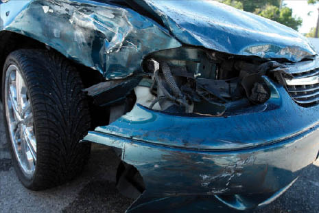 blue car with severe crash damage to front end of car; collision work; car crash; auto body repair shops in California