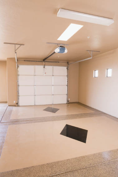 Garage with a new electrical garage door opening system